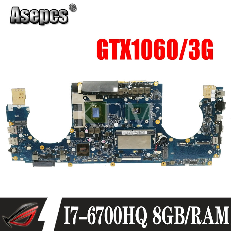 laptop Motherboard For ASUS GL502VMZ GL502VM GL502VMK Mainboard 8G/I7-6700HQ GtX1060/3GB exchange!!! image