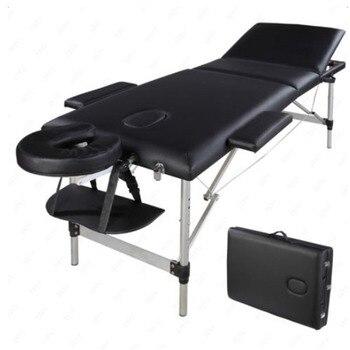 3 أقسام المحمولة طوي الألومنيوم تدليك الجدول سرير سبا مع حقيبة حمل صالون تجميل العلاج سرير تدليك 60 سنتيمتر واسعة