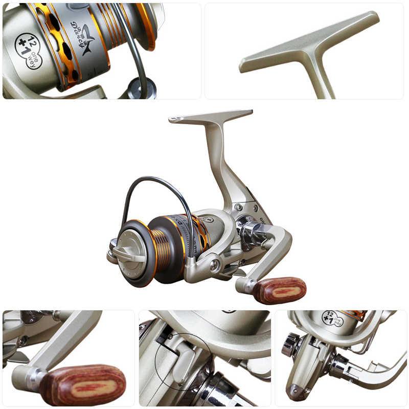 Carrete de pesca que gira 12 + 1 BB 5,5: 1 carrete de Metal ultraligero suave Extra potente pesca giro carrete