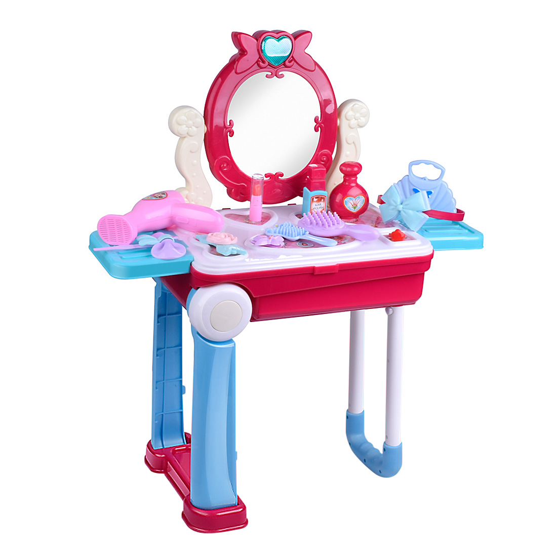 14Pcs/set Children Makeup Pretend Playset Dressing Table Suitcase Toys With Light And Sound Kids Make Up Toy Set For Girls Gifts