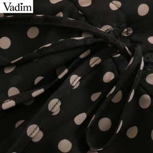 Image 3 - Vadim Nữ Sang Trọng Áo Chấm Bi Cổ V Đầm Midi Tay Dài Thắt Nơ Buộc Tất Xù Nữ Mặc Công Sở Sang Trọng Áo vestidos QD136
