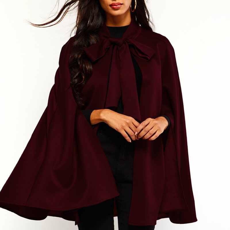 Vintage Suede Jubah Wanita Tahan Angin Hangat Musim Dingin Musim Gugur Pakaian Luar Kantor Elegan Polos Renda Fashion Faux Kulit Cape Wanita