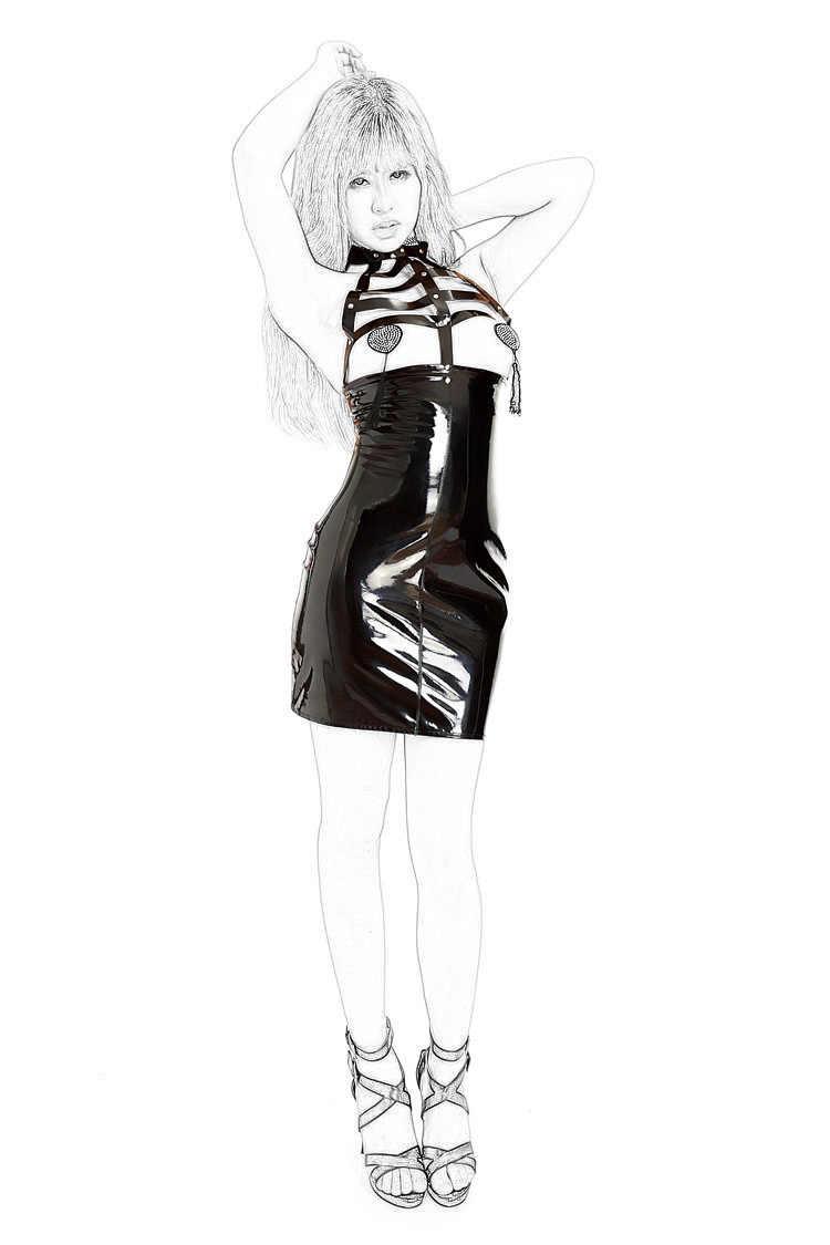 ผู้ผลิตโดยตรงขายเซ็กซี่สิทธิบัตรหนังเสื้อผ้าสีดำสดใสกระโปรง Props ประสิทธิภาพ Nightclub Stage เสื้อผ้า Leat
