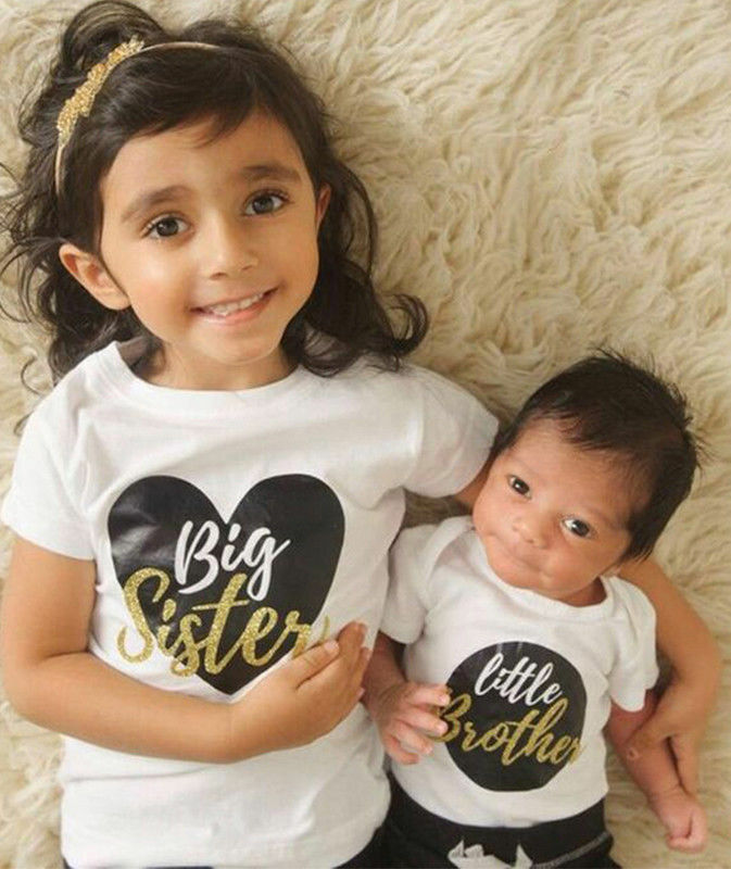 Little//Big Brother Sister Baby Boy Girl Kids Romper T-shirt Tops Matching Outfit