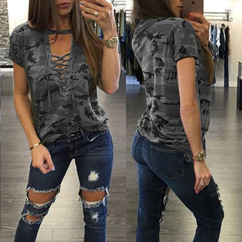 Casual T-shirts Camouflage Pattern Tops Wear Fashion Women Loose Summer Clothing Ladies Lace-up Neck Short Sleeves Loose T-shirt dark blue feather pattern cold shoulder short sleeves t shirt