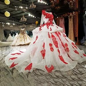 Image 3 - LS67890 party jurken geborduurd met stenen rode applique kralen lange mouwen lange trein prom avondjurk china groothandel 2018