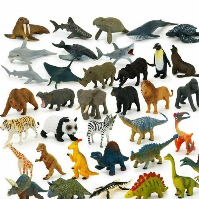12pcs Mini Animal World Zoo Animal Model Figure Action Toy Set Cartoon Simulation Animal Lovely Plastics Collection Toy For Kids