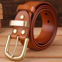 Camel vegetable tanned belt solid brass buckle high quality mens belts luxury full grain genuine leather jeans cowboy 140 130cm