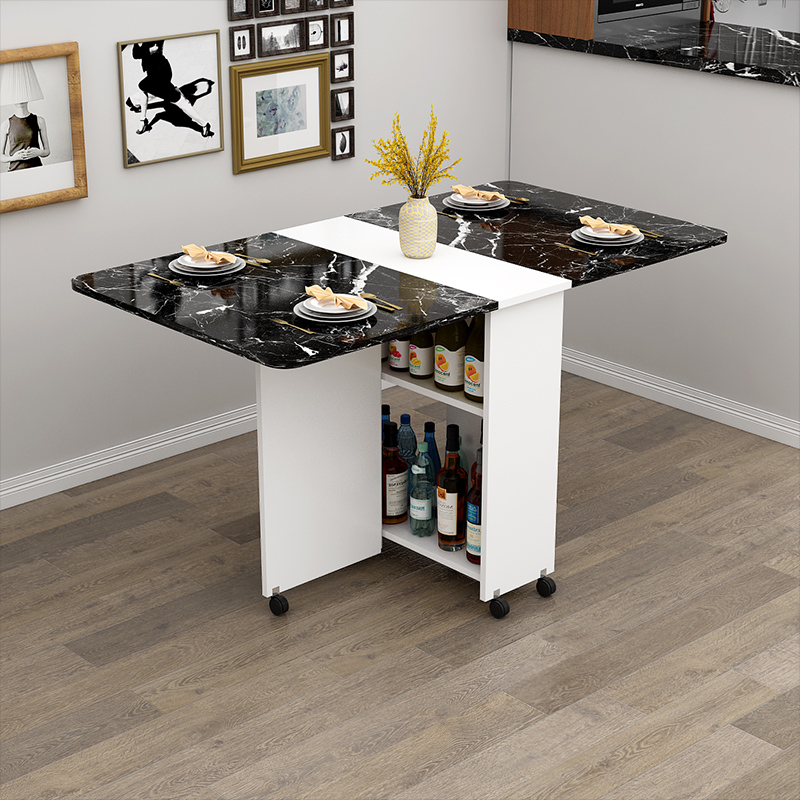 €277.96 49% de DESCUENTO Mesa de comedor plegable de madera con ruedas  mesas de cocina de sala de estar muebles mesa de pared de almacenamiento  móvil ...