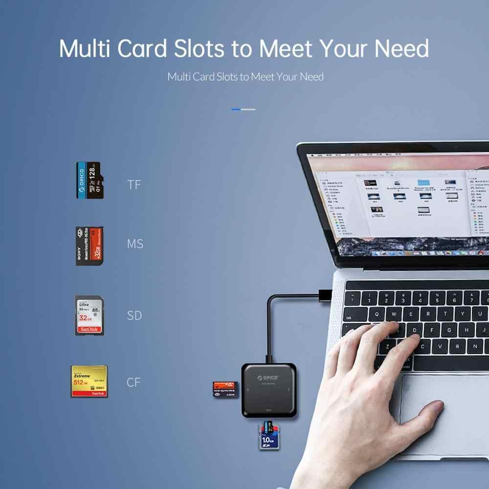 ORICO 4 en 1 USB 3,0 lector de tarjetas Flash multimemoria lector de tarjetas para TF SD MS CF para ordenador portátil tipo OTG C a tarjeta leer USB 3,0