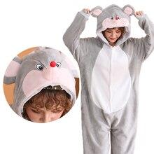 Пижама кигуруми с единорогом для взрослых; Пижама с мышкой для женщин и мужчин; Пижама для пар; коллекция года; зимняя Пижама; костюм для сна; Фланелевая Пижама