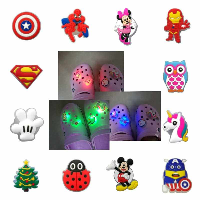 200pcs Cool Mickey Avenger LED Shoe Charms Lighted Shoes Accessories Shoe Buckles Unicorns Xmas Tree Croc Charms JIBZ Kids Gift