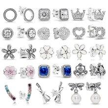 Boosbiy 2019 New Fashion CZ Zircon Heart Crown Stud Earrings Fits identity Brand for Women Wedding Jewelry Gift