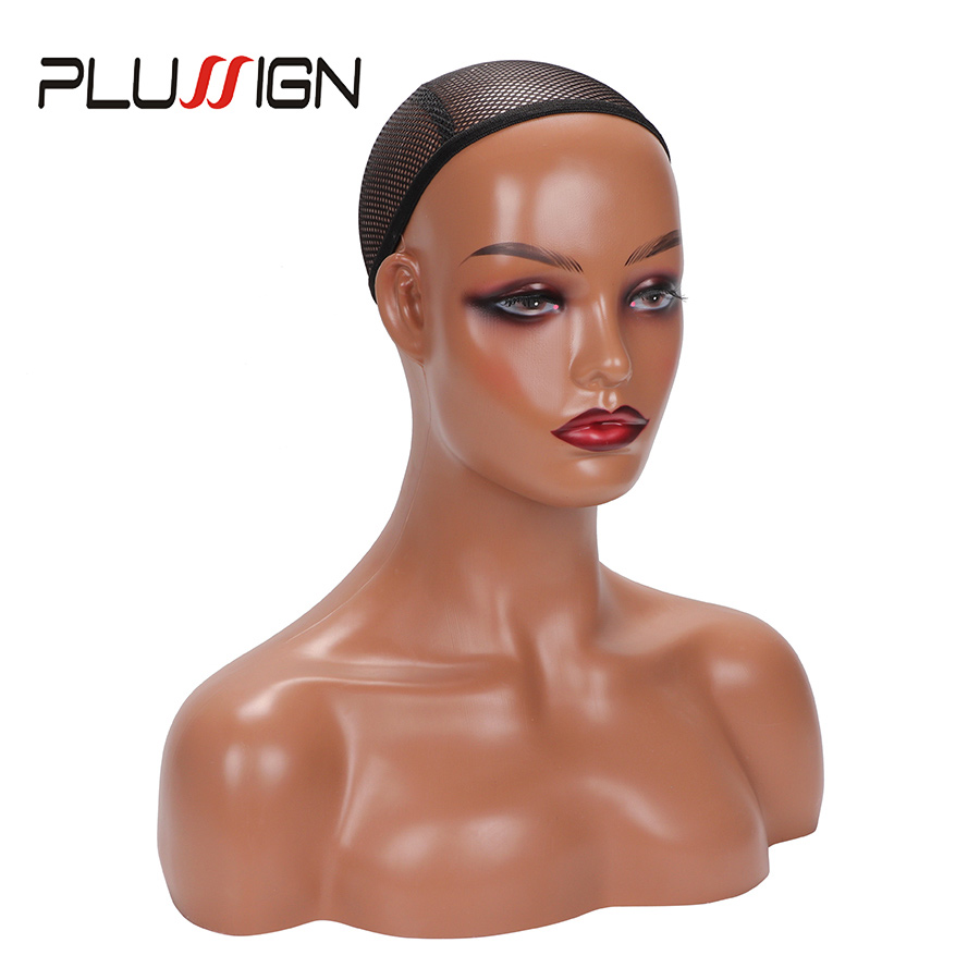 Female Mannequin Head With Shoulders For Wig Display Top Quality Pvc Mannequin Head Modle With Artificial Eyeball For Hat Wigs