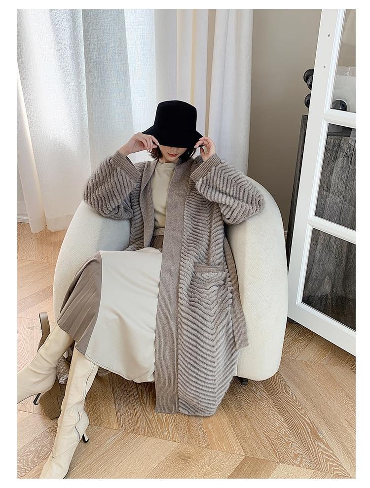 Hb92773538a0b41b0a68ea6ef4cfef8a3K HDHOHR 2021 New High Quality Natural Mink Fur Coat Women With Belt Knitted Real MinkFur Jacket Fashion Warm Long For Female