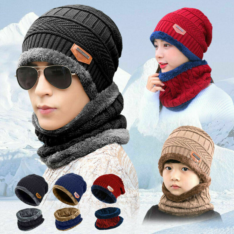 New Men Women Beanie Hat Scarf Neck Warmer Winter Thermal Ski Cap Set UK