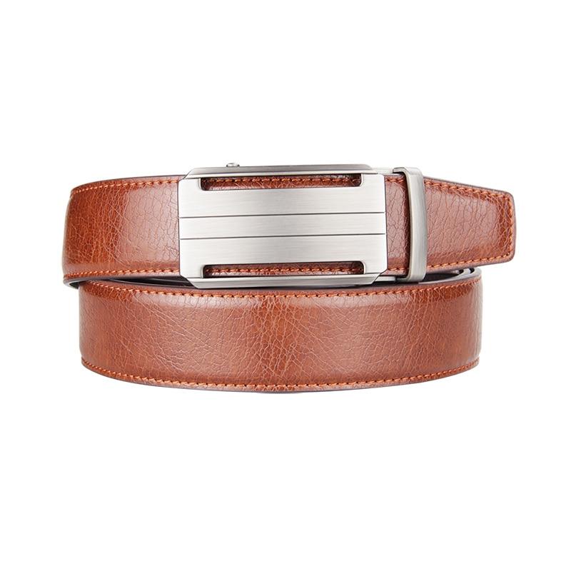 Famous Brand Belt Men Genuine Luxury Leather Belts For Men Strap Male Metal Brown Leather Automatic Buckle Belts Men 3.5CM Width