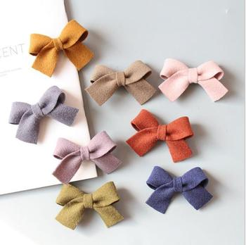 8pcs Boutique Women Woolen Corduroy Bow Hairpins Girls Lovely Hair Clips Hair Ties Ropes Korea Headwear Accessories Barrettes R4 cotton linen fabric bows boutique hair bow clips sailor bow hair barrettes hairgrips baby girls women hair accessories headwear