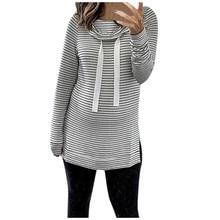 Женская зимняя одежда для беременных; Повседневный пуловер в полоску с капюшоном и круглым вырезом и длинными рукавами; Vetement Grossesse