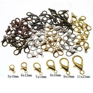 50 шт., 10, 12, 14, 16, 18, 21 мм, металлические застежки-карабины для ожерелья и браслета, концевые соединители, цепочки, фурнитура для самостоятельно...