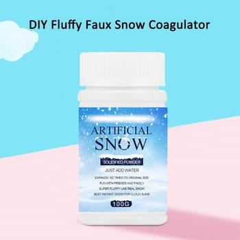 DIY Artificial Fake Fluffy Faux Snow Powder Coagulator for Wedding Decoration Kids Educational Toys for Children Gifts image
