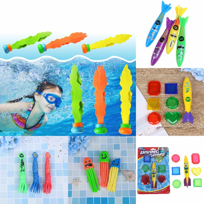 1/3/4Pcs Funny Summer Shark Torpedo Rocket Throwing Toy Swimming Pool Diving Game Toys For Children Dive Dolphin Accessories Toy