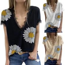 Verão moda feminina laço camiseta v pescoço manga curta estampa floral topos senhoras retro flor impresso t casual solto mais tamanho