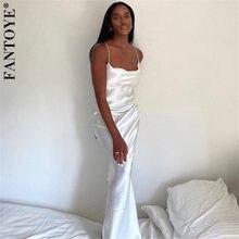 Fantoye-robe en Satin pour femme, dos nu, bretelles Spaghetti, couleur or, Sexy, élégante, longue, pour les fêtes, automne