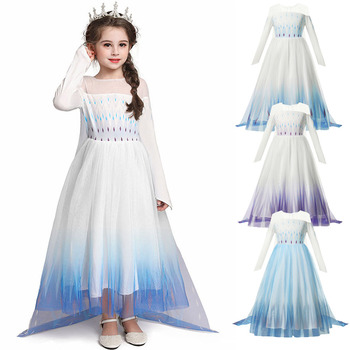 Elsa Snow Queen Princess Dress White Fancy Cosplay Custome for Halloween Christmas Sequins Stage Clothing