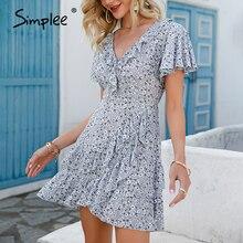 Mini Dress Simplee Elegant High-Waist Short-Sleeve V-Neck Floral Ruffled Cotton A-Line