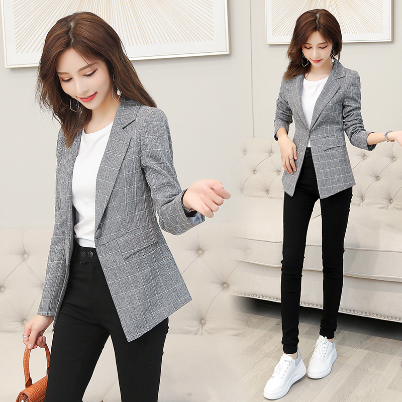 Vintage Casual Blazer Women Fashion Spring and Autumn One button coat Office Ladies Jacket lapel Long Sleeve Suit jacket
