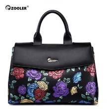 ZOOLER women bag 2017 embossed colored flower pattern genuine leather real handbag luxury  bolsa feminina #2939