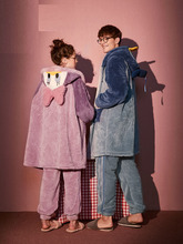 Women Men Night Gowns Sets Sleap Wear Shell with the same couple pajamas autumn and winter coral