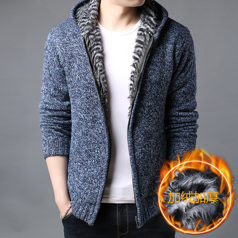 2019 Winter Men Jacket Thick Velvet Cotton Hooded Fur Jacket Men's Winter Padded Knitted Sweater Cardigan Spring Outdoors S-3XL
