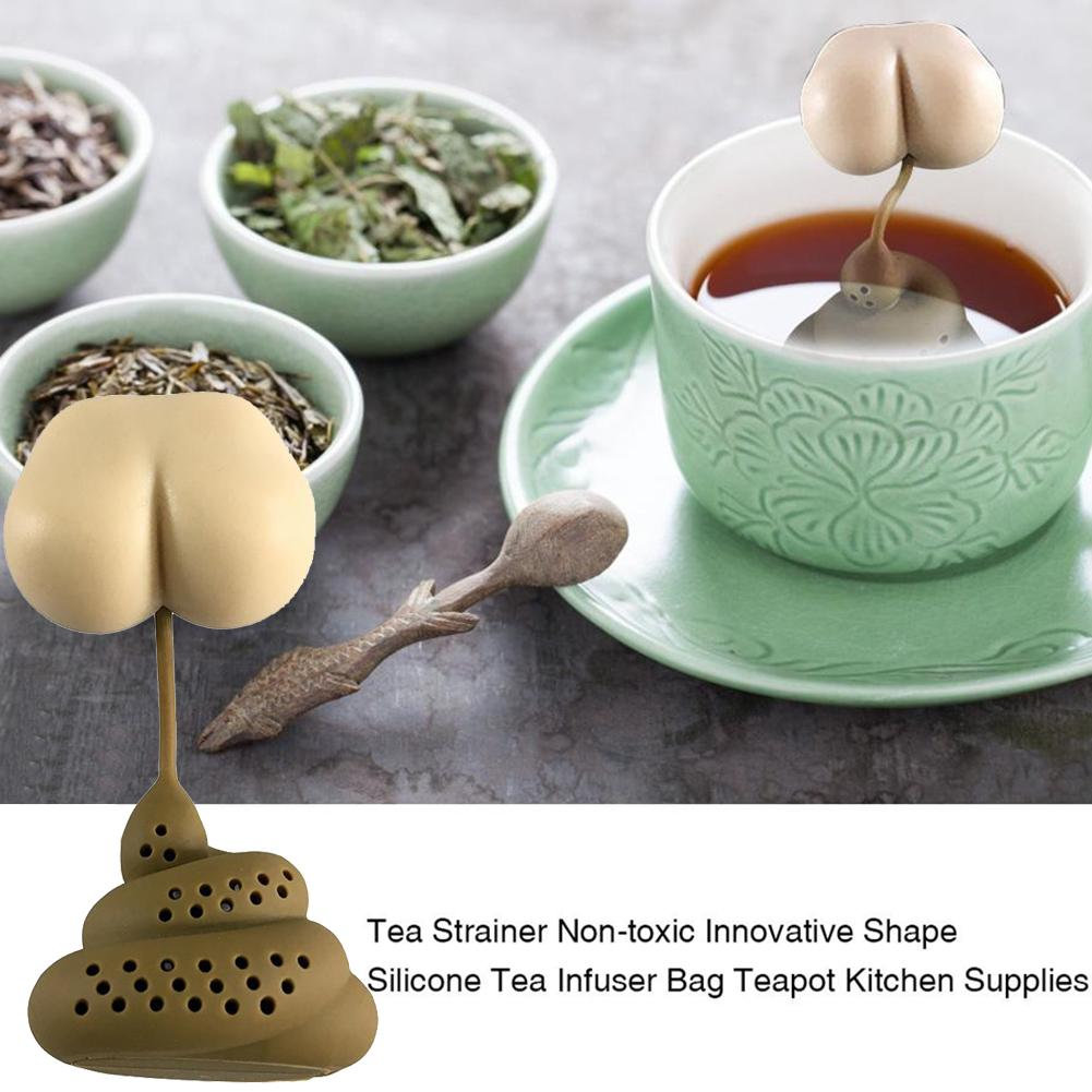 New Poo Turd Shape Silicone Tea Strainer Filter Infuse Prank Trick Props Drink  Kitchen Accessories Tool