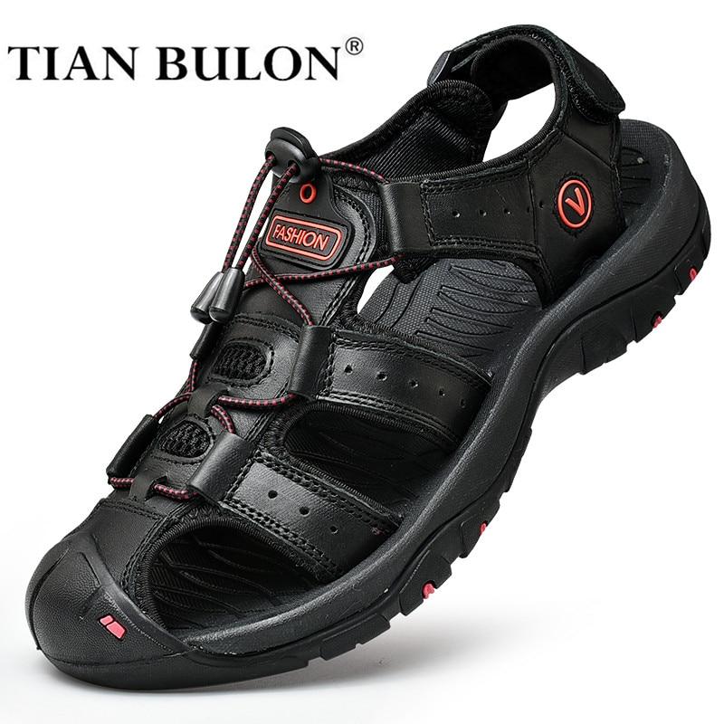 Summer Men Sandals Genuine Leather Men Casual Shoes Outdoor Men Leather Sandals For Men Beach Shoes Roman Shoes Plus Size 38-48