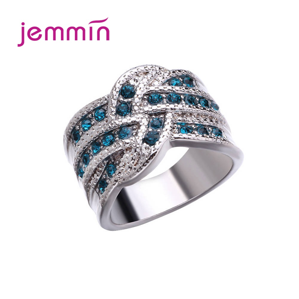 Top Vendor Korean Trend Delicate 925 Sterling Silver Engagement Rings For Women Sky Blue Heart Pattern Cubic Zircon Jewelry Gift