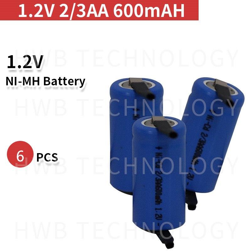 6 pçs/lote AA Ni-Cd 1.2V 2/3AA carregar Baterias NiCd 600mAH bateria recarregável-Azul frete Grátis