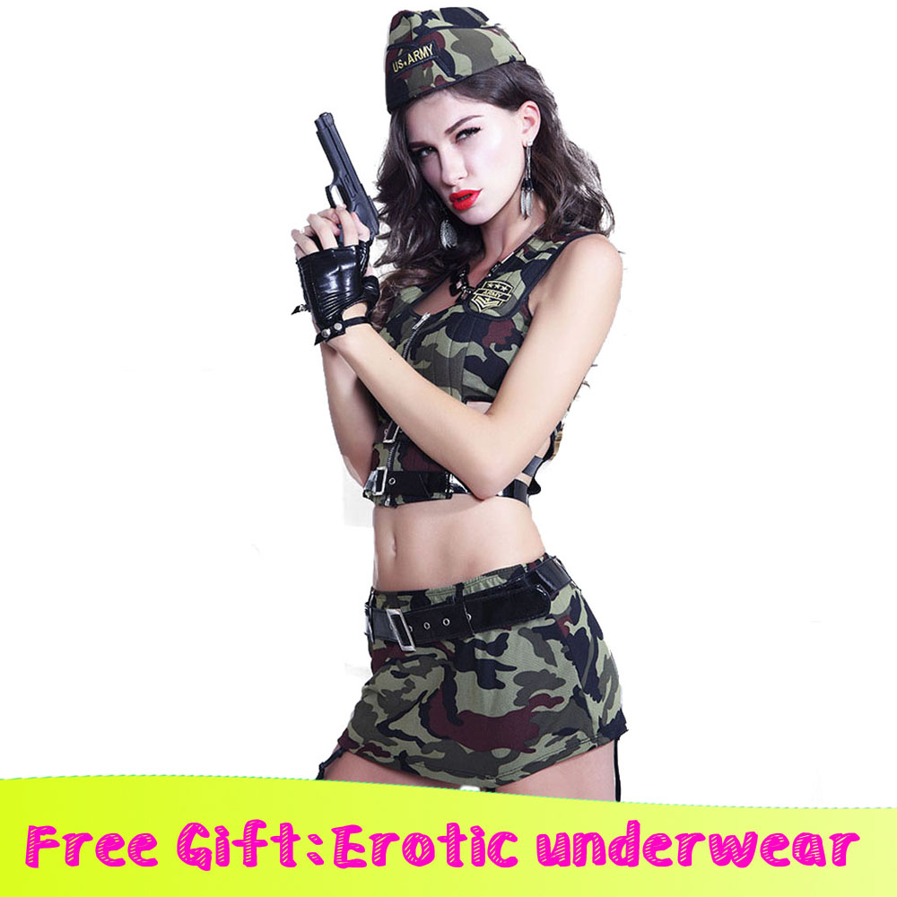 Erotic Dancewear <font><b>Sexy</b></font> Exotic Camouflage Lingerie <font><b>Cosplay</b></font> costume Women's Ladies Lingerie <font><b>Army</b></font> Camoufla Erotic Underwear image