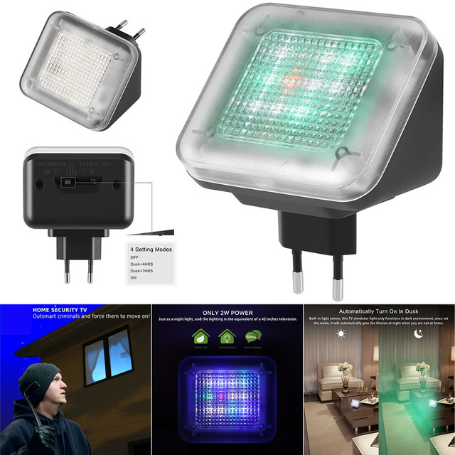 LED TV Simulator Home Security Burglar Intruder Deterrent with Light Sensor EU Plug SP99