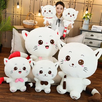 Hot Kawaii Big Face Tie/Scarf/Bell Cat Plush Toy Cartoon Animal Pussy Stuffed Doll Soft Pillow Cushion Birthday Gift for Kids cat doll plush toy down jacket cat soft body white cat cartoon cat cushion female pillow birthday gift