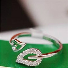 Silver Adjustable Crystal Rings For Women Gold Leaf Ring Engagement Rings Jewellery Women Wedding Promise Ring For Female Gifts(China)
