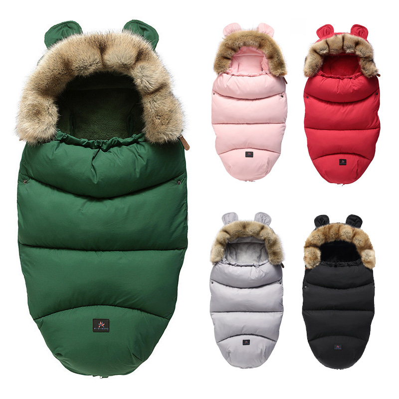 Winter Sleeping Bags Envelope Newborn Baby Stroller Pad Sleepsack Hooded With Cute Ear Footmuff Warm Thick Infant Wheelchair