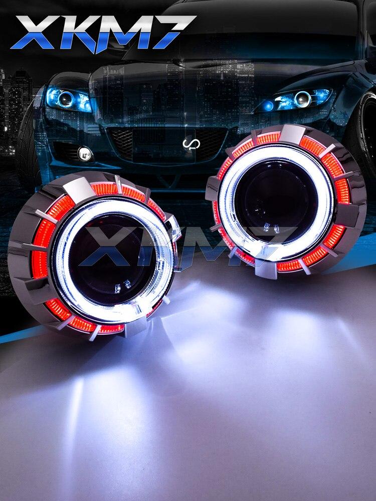 2x Headlight White Halo Projector Blue Demon eyes For Kawasaki Ninja Sports Bike
