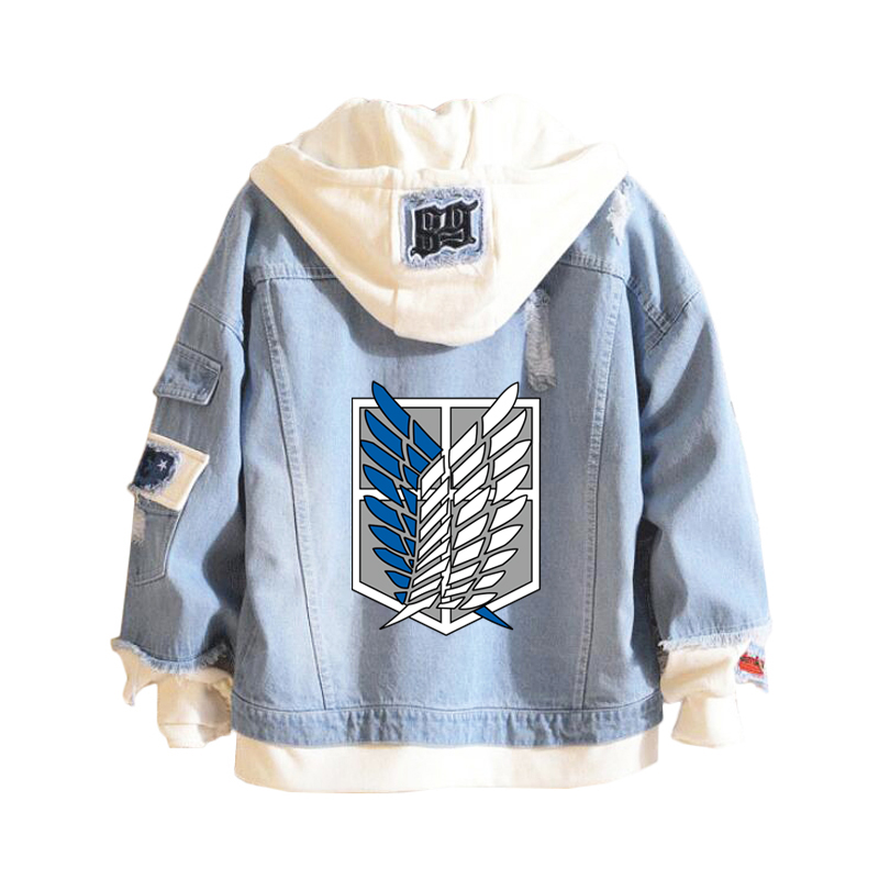 Attack on Titan Denim Jacket Women/Men Jeans Hoodie Sweatshirt Anime Eren Jaeger Levi Titans Attack Clothing Men Women Cosplay
