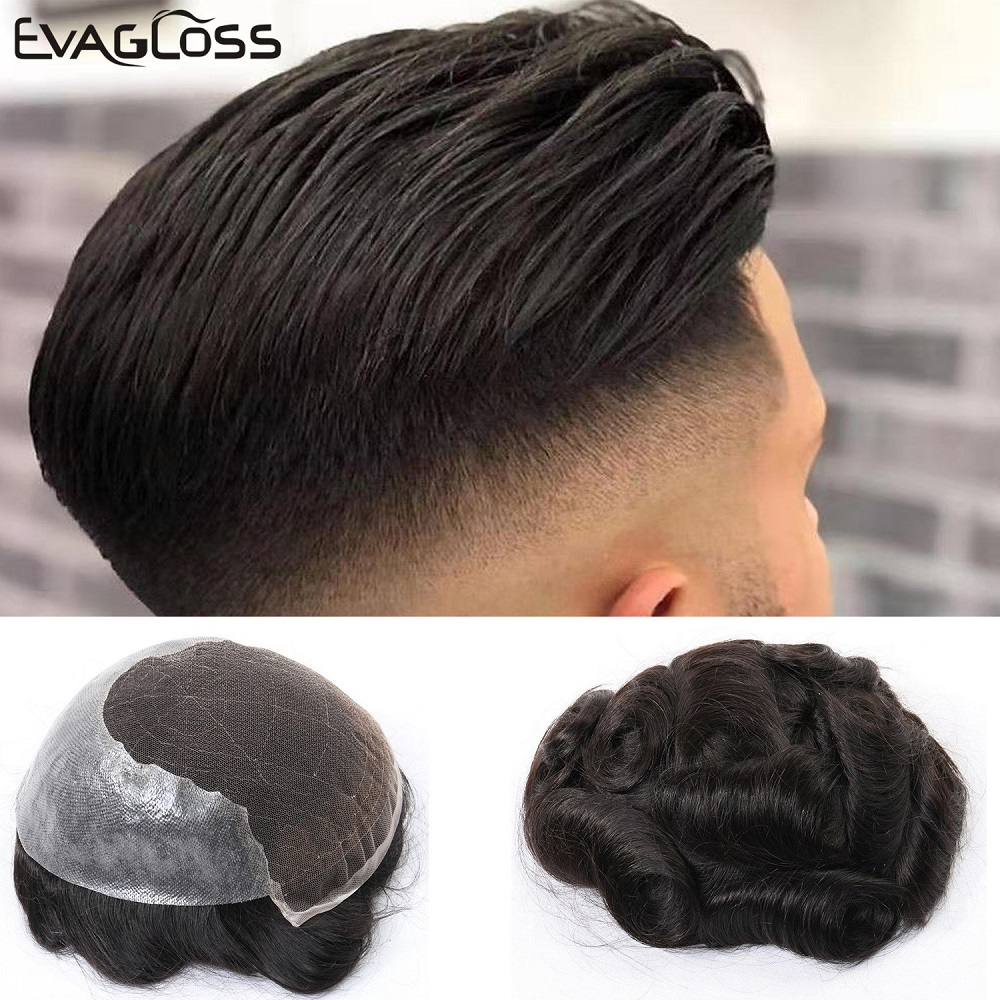 EVAGLOSS Men Toupee Q6 Style Durable Swiss Lace Thin PU Hair System Replacement Real Indian Remy Human Hair Men Wig