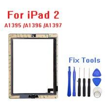 Para ipad 2 tela de toque substituição digitador vidro + botão casa adesivo câmera segurar a1395 a1396 a1397 montagem