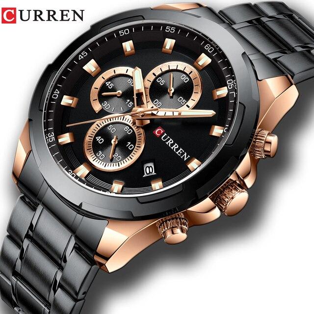 Najnowszy CURREN męskie zegarki Top marka luksusowy wojskowy stalowy zegarek sportowy dla człowieka męski wodoodporny męski zegar Relojes