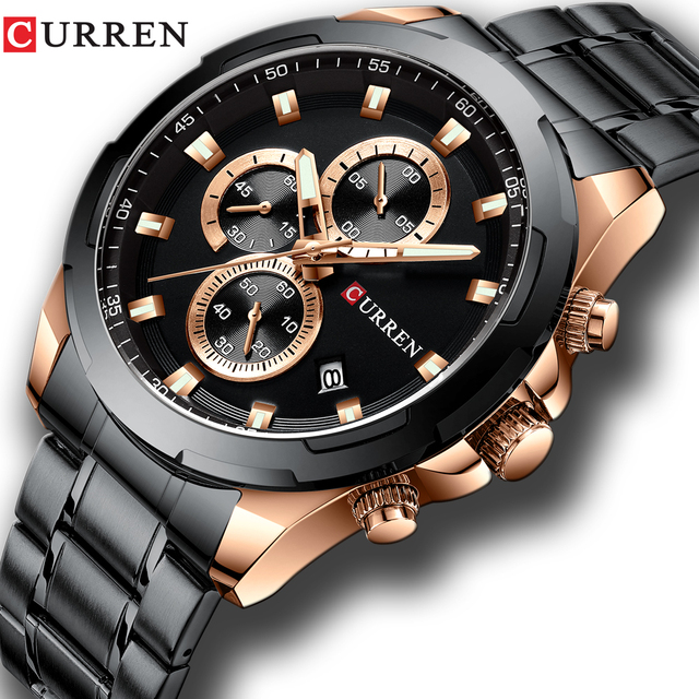 Newest CURREN Mens Watches Top Brand Luxury Military Steel Sports Wristwatch For Man Mens Waterproof Male Clock Relojes