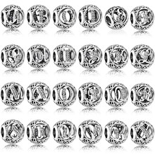 100% 925 Sterling Silver Vintage A to Z, Clear CZ Letter Alphabet Bead Charms Fit Original Charm Bracelets & Bangles Jewelry(China)